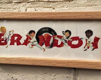 Karate Door Plaque - Children's / Kids / name sign / Illustration