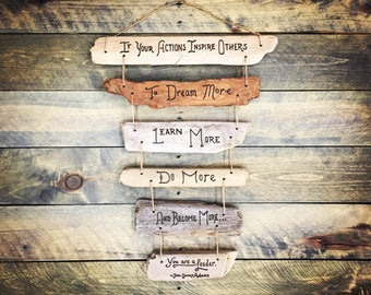 Leadership Inspirational Quote Driftwood Sign - boss gift, retirement gift, christmas, CEO client mentor, co-worker, colleague, office decor