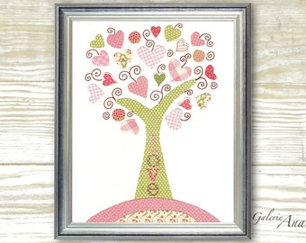 Kids wall art - nursery art prints - baby nursery decor - nursery art - Tree Pink - Tree Of Love print  by GalerieAnais
