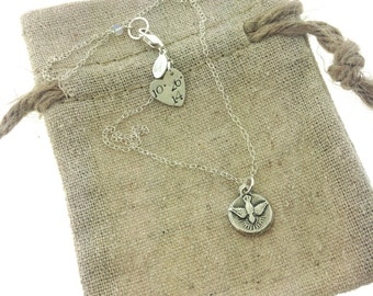 Fine silver Holy Spirit necklace, Confirmation, Communion, Religious necklace, Holy Spirit, Special date
