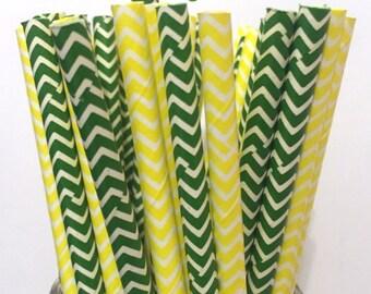 2.85 US Shipping -Green Bay Packers Paper Straws - Yellow/Green Straws - Cake Pop Sticks - Drinking Straws