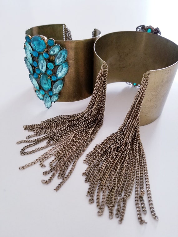 Antiqued Brass and Rhinestone Fringe Cuffs