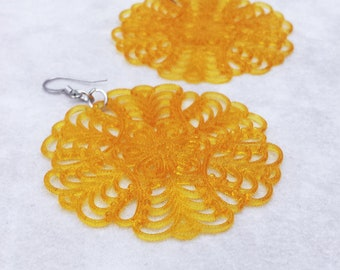 Mustard yellow statement earrings, Large filigree earrings, colorful lightweight earrings, Birthday gift for her, gift for best friend