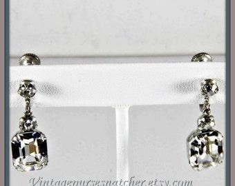 Vintage Rhinestone Earrings,Vintage Earrings,Vintage Rhinestone Drop Earrings,Vintage Emerald Cut Rhinestone Drop Earrings,Vintage Screw On