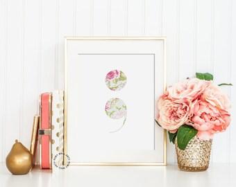 Semicolon, Printable Home Decor, Art Print, Tropical Print, Semicolon Wall Decor,Print,Poster,Sign, Wall Art, Home Decor, Girl Dorm
