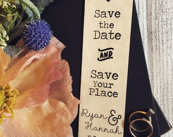 Save the Date Wood Bookmarks