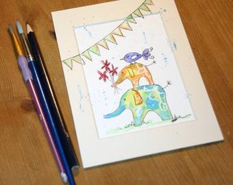 SALE Elephant watercolour, elephant painting, African animal, elephant original art, original art, elephant lover,nursery decor, nursery art