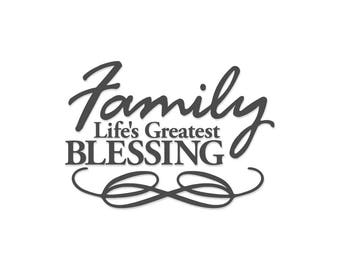 Family Life's Greatest Blessing | Blessing | Family | Family Vinyl Decal | Glass Block Decal | Charger Plate Decal | Vinyl Decal | Plate