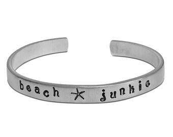 Cuff Bracelet, Friendship Bracelets, Summer Jewelry Gift, Custom Aluminum Cuff, Ocean Wave Jewelry, Bracelets for Women, Mermaid Jewelry