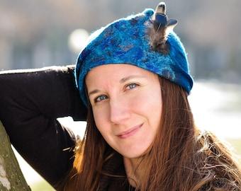 Ladies Felt Hat, Cloche Felt Hat with Feathers, Blue Felted Hat, Woolen Hat with Feathers Detail, Women's Winter Hats