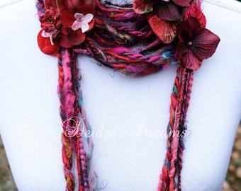 Long Flower Scarf, Skinny Fringe Scarf, Lariat Scarf, Boho Tassel Scarf, Red and Pink, Art Yarn Scarf, Flower Garland, Handspun Art Yarn