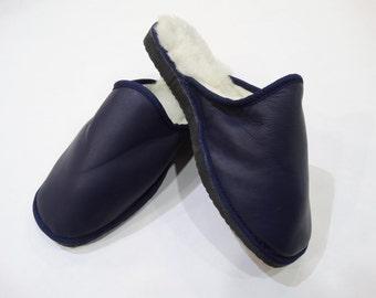 Navy Blue Slippers,Men Fur Slippers,Warm Slippers F446