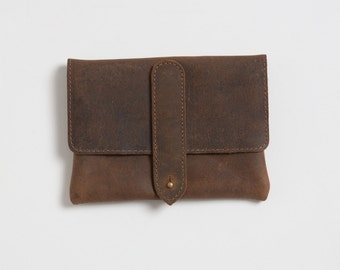 Leather cigarette case, Gifts for smokers,Tobacco pouch, Rolling papers, Brown leather pouch, Gift for her, Zipper pouch