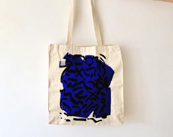 Royal Blue Scribble Hand Printed Tote Bag, Canvas Tote, Fashion Tote, Bright Blue, Fashion Accessories, Limited Edition, Hand Screen Print