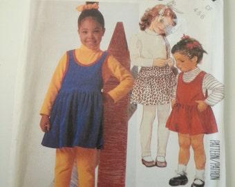 Little girl dress/ 80s /clothing /kids leggings /skirt /jumper/tops /pants /1986 sewing pattern, Chest 23 24 25, Sizes 4 5 6, McCalls M 2697