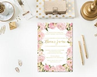 Blush + Gold Anniversary Party Invitation