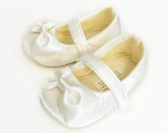 Baby Girl Shoes Toddler Girl Shoes Soft Soled Shoes Wedding Shoes Easter Shoes Flower Girl Shoes All Satin Ivory Shoe MORE COLORS - Everly