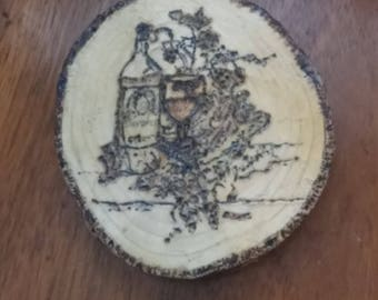 """Coasters Set Of 4 Made From Cedar Wood """"Wine And Grapes"""""""