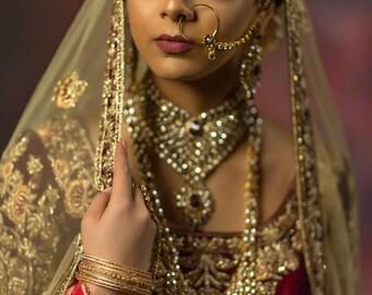 Lightweight Ruby and Kundan Bridal Indian Jewelry Set - Indian Jewelry Set with Rani Haar, Indian Nose Ring Nath, Hath Panja, Maang Tikka