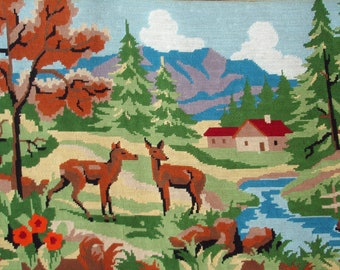 Lovely vintage French needlepoint tapestry canvas - Two does