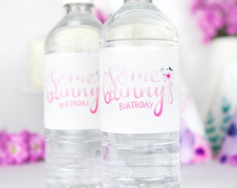"""Water Bottle Labels Printable for Girls First Birthday - """"It's Some Bunny's Birthday"""" for little girl turning one - watercolour party decor"""