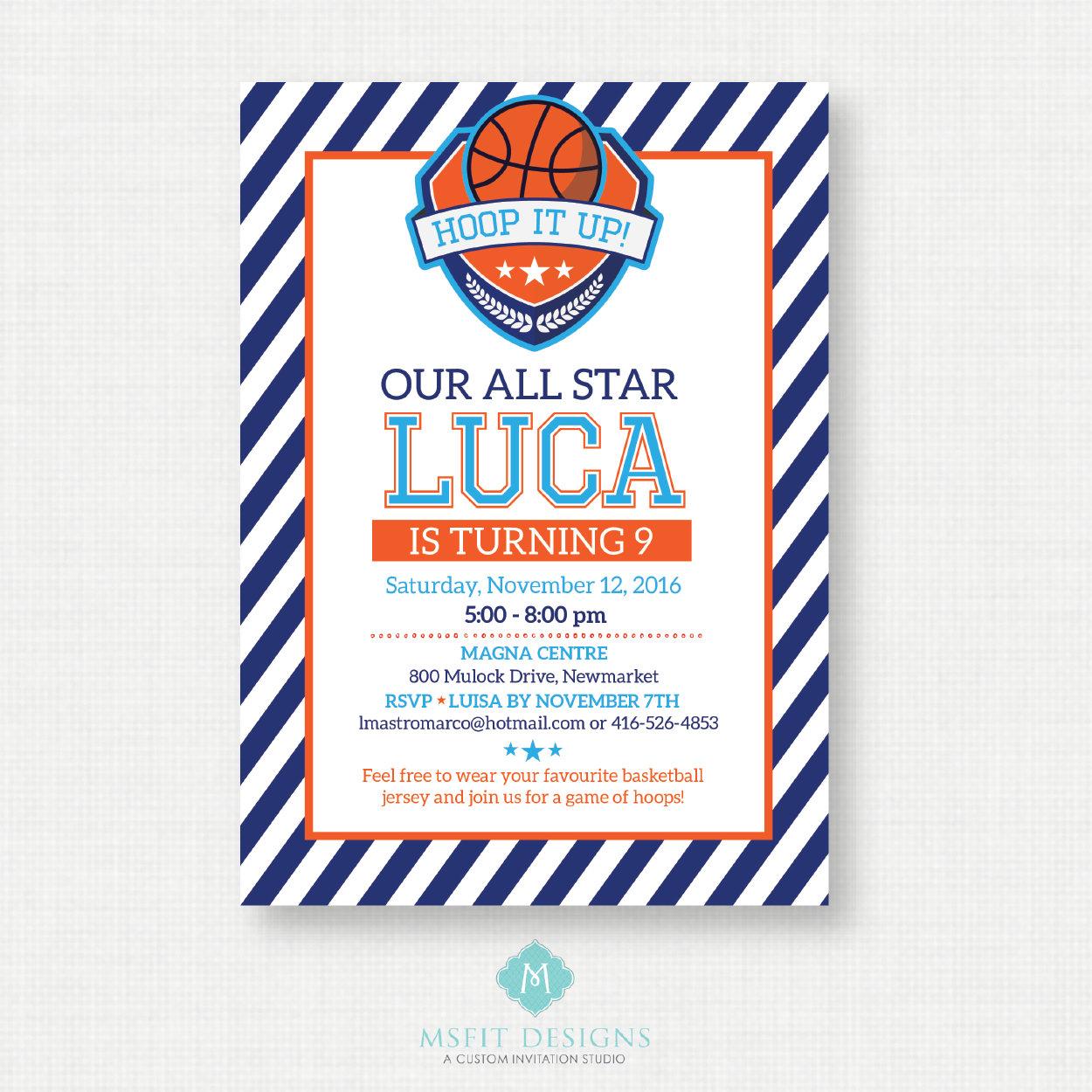Printable Birthday Invitation Basketball Birthday Invitation