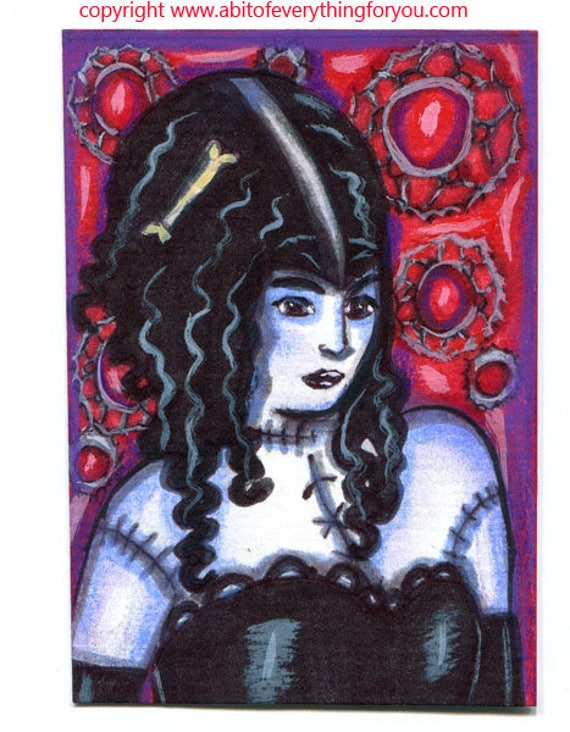 monster girl woman original aceo art drawing zombie undead modern goth horror miniature artwork