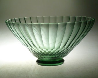 Czech art deco cut glass bowl