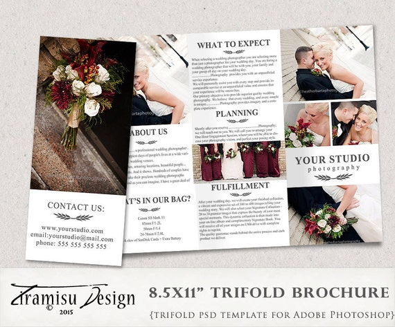 Wedding Photography Trifold Brochure Template Client Welcome