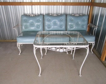 PICK UP ONLY Vintage Woodard Wrought Iron Chantilly Rose 3 pc Sectional Sofa Patio Set with Vinyl Cushions and Matching Coffee Table