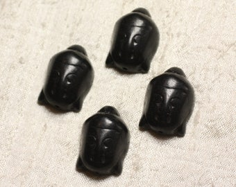 Wire 13pc approx 39cm - 29mm black Buddha synthetic Turquoise stone beads