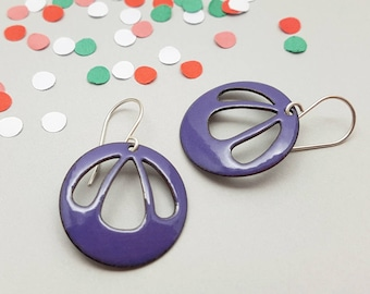 Purple Dangle Earrings with Sterling Silver Earwires - Modern Enamel Jewelry - Gift for her / Bell Flower