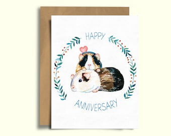Guinea Pig Happy Anniversary Blank Card, Watercolor Illustration, Greeting Card