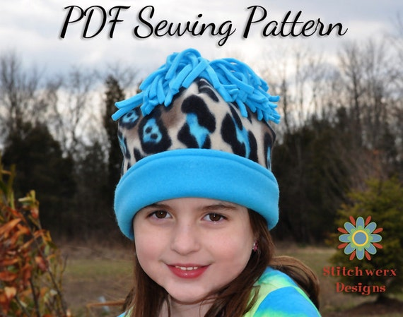 Fleece Hat, Sewing Pattern, PDF Pattern, Baby Hat Pattern, Girls Hat ...