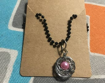 Wire Wrapped Pearl Nest Necklace