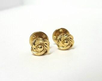 Vintage gold knot collar links