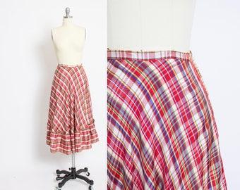 Vintage 1940s Full Skirt - Plaid Taffeta Ruffle Prairie Skirt 40s - Small