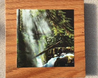 Sol Duc Falls, Washington Photo Plaque on Oak