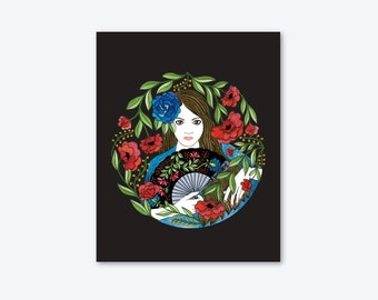 ART Print/Illustration/Flemish with fan/home decor/women/drawing/flowers/by Elisabeth Aranda