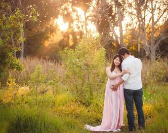 Pink Chiffon maternity gown /  chiffon maternity dress/ maxi dress