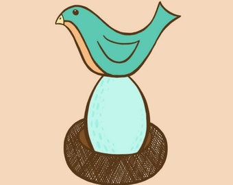 Turquoise and Peach Momma Bird Sitting on Blue Speckled Egg in a Brown Nest  - 8 x 10 Art Print  - Baby Nursery Wall Art