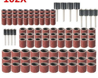 102pcs  Drum Sanding Kit 120 Grit With 1/2 3/8 1/4 Inch Sanding Mandrels Fit Dremel Rotary Tools U.S.A. Seller