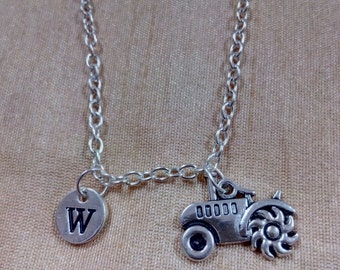 Kids SIZE - Tractor charm necklace - tractor jewelry, farm necklace, FFA necklace, farm tractor jewelry, FFA jewelry