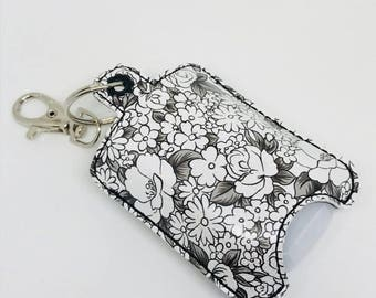 Black and White Floral Hand Sanitizer holder, Keychain, Bath & Body Works Hand Sanitizer, Vinyl, Backpack, Purse, flowers