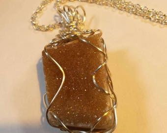 Agate Druzy Handcrafted Wire Wrapped, Pendant Unisex Necklace ,Yoga Jewelery,Earth Energy,Natural, Power Crystal, Boho Chic, Christmas gift