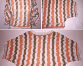 Vintage 1980s 80s Crochet Style Batwing Striped Cropped Top Wide Sleeves Orange Melon White Brown Size Medium Large