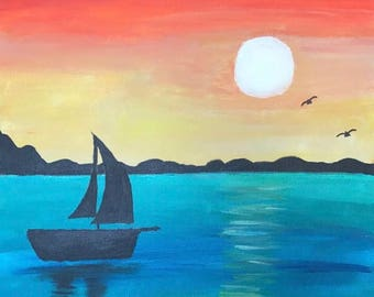 Sailboat on the Sunset Painting