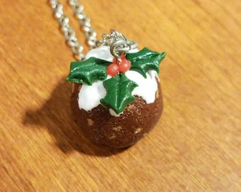 Food Jewelry Christmas Pudding Miniature Food Necklace