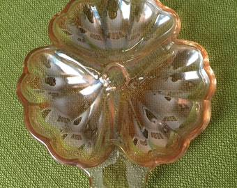 Vintage Mid Century Amber/Peach Clover/Shamrock Carnival Glass Trinket Dish Divided Jewelry Dish
