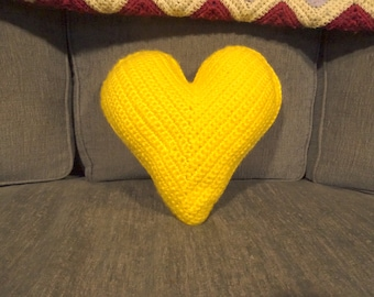 "11"" x 12"" Yellow Throw Pillow - Heart Shaped Pillow - Heart Travel Pillow - Yellow Pillow - Decorative Pillows for Couch - Housewarming Gift"